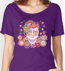 Sugar Skull with Flowers Women's Relaxed Fit T-Shirt