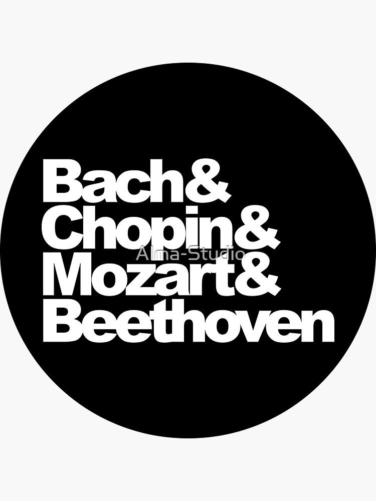 Bach y Chopin y Mozart y Beethoven, etiqueta engomada del círculo, negro de Alma-Studio