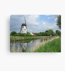 Damme: Windmill and Canal Canvas Print