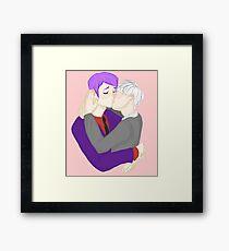 Cute Nerd Kiss Framed Print