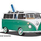Hippie Split Window VW Bus Green & Surfboard by Frank Schuster
