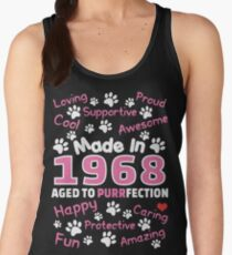Made In 1968 Aged To Purrfection - Birthday Shirt For Cat Lovers Women's Tank Top