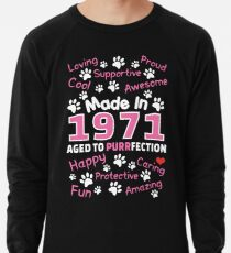 Made In 1971 Aged To Purrfection - Birthday Shirt For Cat Lovers Lightweight Sweatshirt