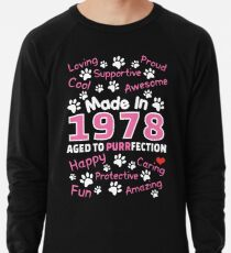 Made In 1978 Aged To Purrfection - Birthday Shirt For Cat Lovers Lightweight Sweatshirt