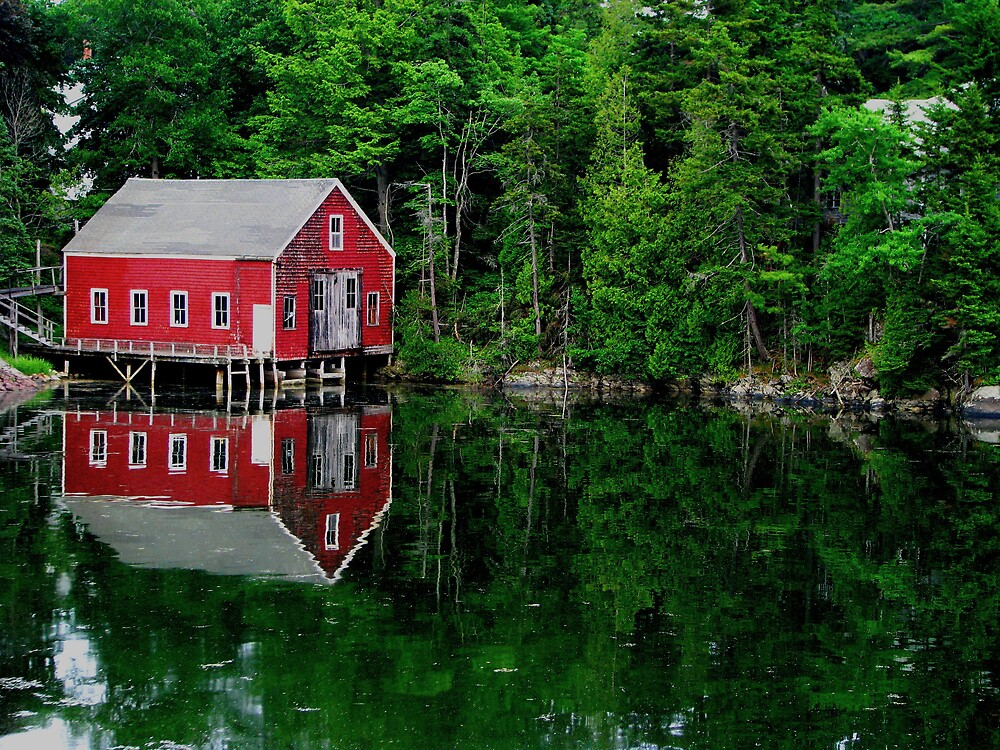 Mirror Image of Boathouse by Patty Gross