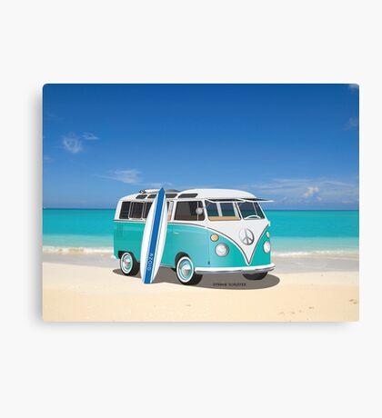 Hippie Split Window VW Bus Teal & Surfboard & Ocean Canvas Print