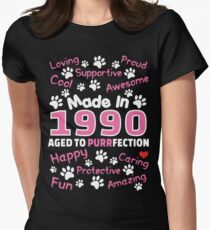 Made In 1990 Aged To Purrfection - Birthday Shirt For Cat Lovers Women's Fitted T-Shirt