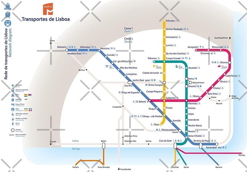 Subway Map Of Lisbon.Lisbon Metro Map Portugal Art Print