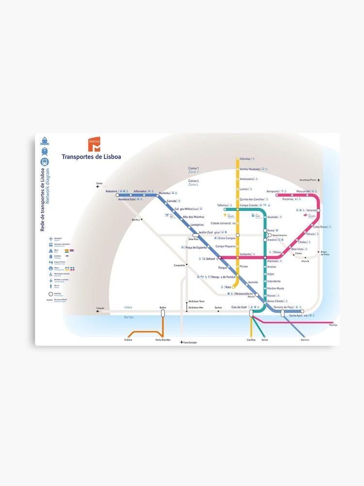 Subway Map Of Lisbon.Lisbon Metro Map Portugal Metal Print