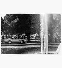 Ferrari 330 GTS In Front Of The Fountain @ Hampton Court Palace Black And White Fine Art Print Poster