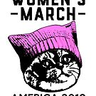 Women's March 2018 Pink Pussy Hat on Cat by electrovista