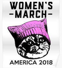 Rosa Pussy-Hut der Frauen März 2018 auf Katze Poster