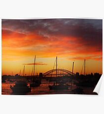 Sunset Sydney Harbour Bridge, Sydney, Australia. Poster