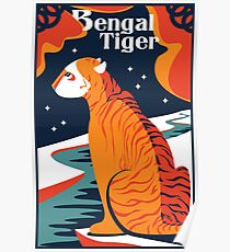 cat tshirt Bengal Tiger tshirt artwork vector design illustration art exotic animal poster Poster