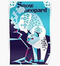 Snow leopard art print poster design creative cat print big cat wall decor digital illustration Poster