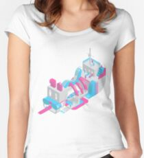 Isometric dog carnival pirate ship design dog tapestry creation pastel aesthetic pink and blue illustration  Women's Fitted Scoop T-Shirt