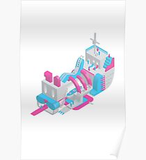 Isometric dog carnival pirate ship design dog tapestry creation pastel aesthetic pink and blue illustration  Poster