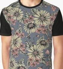 Dusty Rose & Blue Floral/Botanical Pattern With Black Outlines Graphic T-Shirt