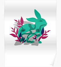 bunny rabbit transparent tshirt design cute home decor tapestry rabbit artwork illustration design Poster