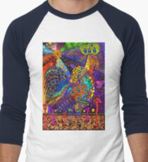 Psychedelic Trippy Rooster Color Men's Baseball ¾ T-Shirt