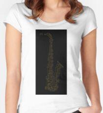 Neon Golden Pixel Saxophone on Black Women's Fitted Scoop T-Shirt