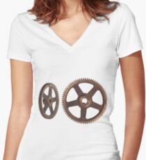 CyberPunk Steampunk Technopunk  #CyberPunk #Steampunk #Technopunk Women's Fitted V-Neck T-Shirt