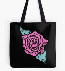 Pink and Turquoise Rose Design Tote Bag