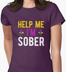 Help Me I'm Sober Mardi Gras Women's Fitted T-Shirt