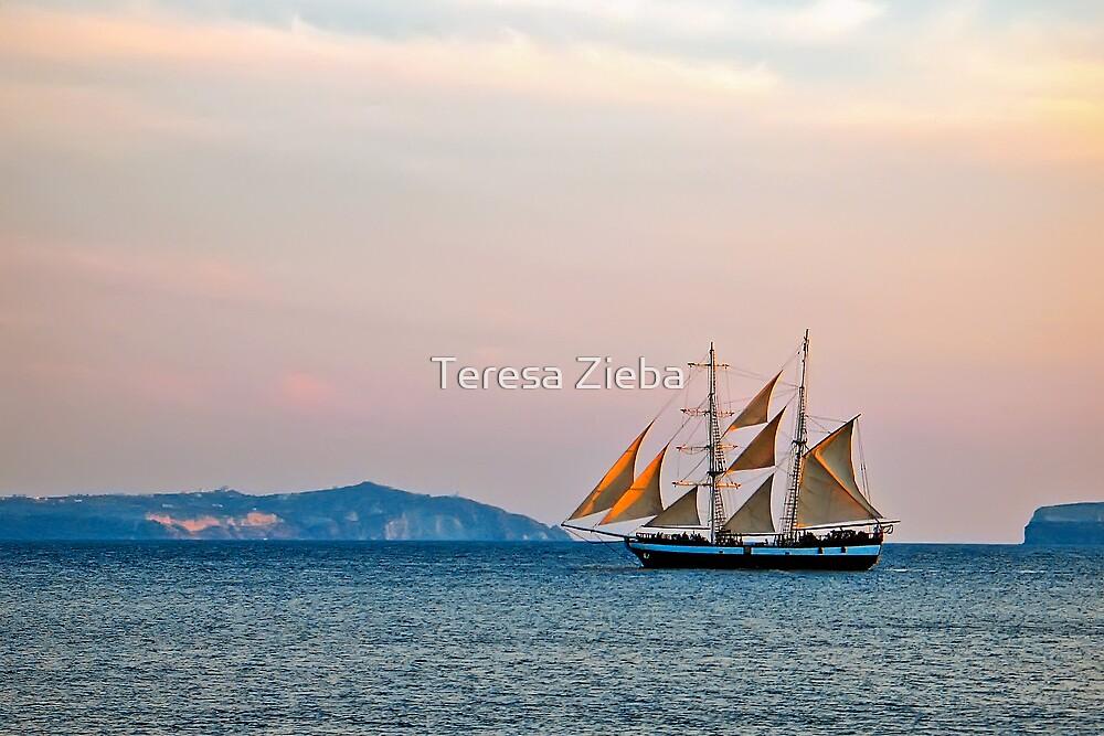 A Yacht at Sunset by Teresa Zieba