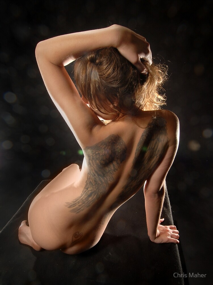 3143-HBA Bare Woman's Back with Wings Tattoo, a nude by Chris Maher by Chris Maher