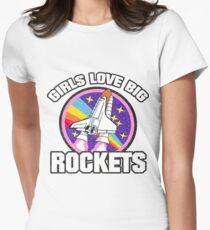 VALENTINE'S DAY GIRLS LOVE BIG ROCKETS FUNNY COOL SEXY GIFT IDEA Women's Fitted T-Shirt