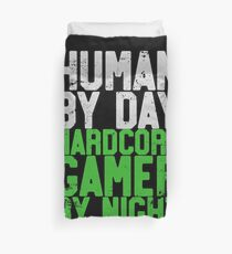 Human By Day, Hardcore Gamer By Night Gamer Gift Duvet Cover