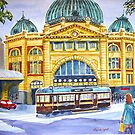 Flinders Street Station and tram, Melbourne, 2 by Virginia  Coghill