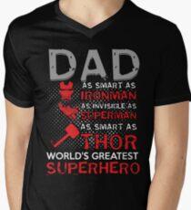 Dad Is My World Greatest Superhero Men's V-Neck T-Shirt
