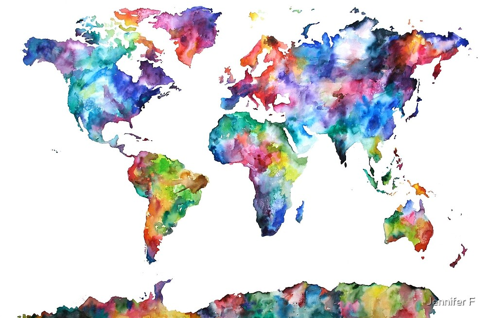 Quot Colourful World Map Quot By Jenfranslay Redbubble