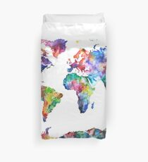 World map duvet covers redbubble colourful world map duvet cover gumiabroncs Images