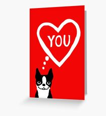 Boston Terrier Valentine Love Card Greeting Card