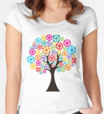 set of trees forming by colorful recycle icons Women's Fitted Scoop T-Shirt