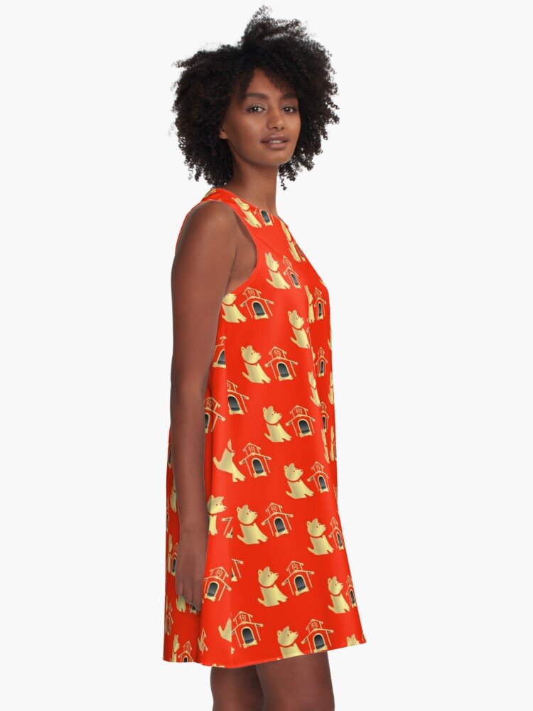 Alternate view of Red and Gold Year of the Dog A-Line Dress