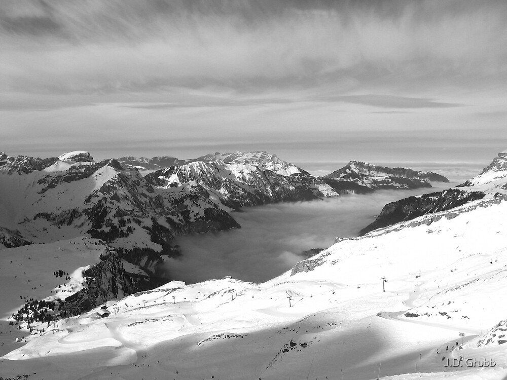 Sea of Mist, Engelberg Valley from Stand, Engelberg-Titlis, Switzerland 2009 by J.D. Grubb