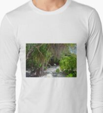 Lounge chairs on the beach in Maldives with exotic vegetation Long Sleeve T-Shirt