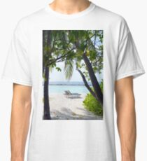 Lounge chairs on the beach in Maldives Classic T-Shirt