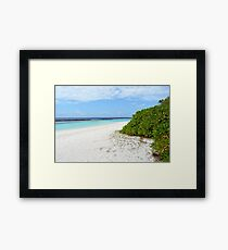 Exotic island in the Maldives with clear blue water Framed Print