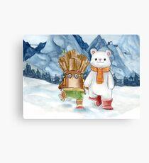 Brown bear and polar bear - Watercolor illustration Canvas Print