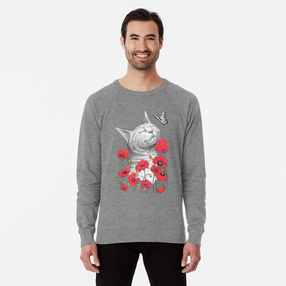 Cat in poppies Leichter Pullover