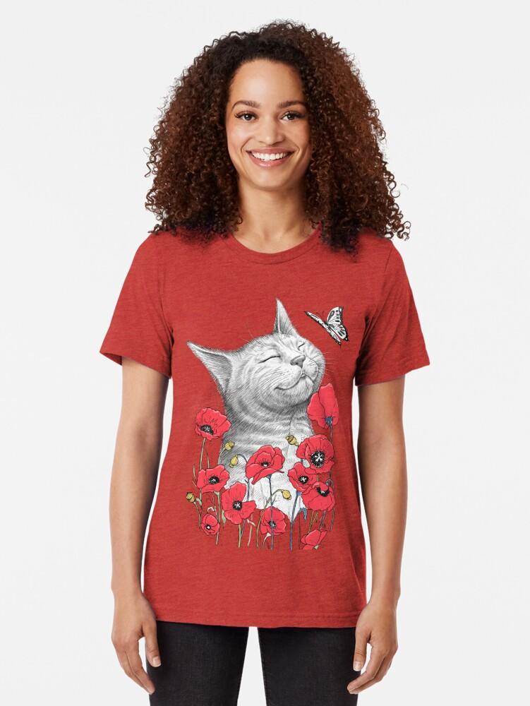 Alternative Ansicht von Cat in poppies Vintage T-Shirt