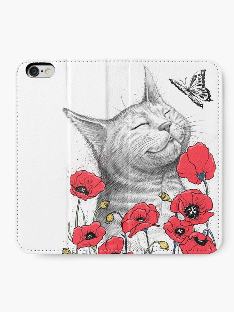 Alternative Ansicht von Cat in poppies iPhone Flip-Case