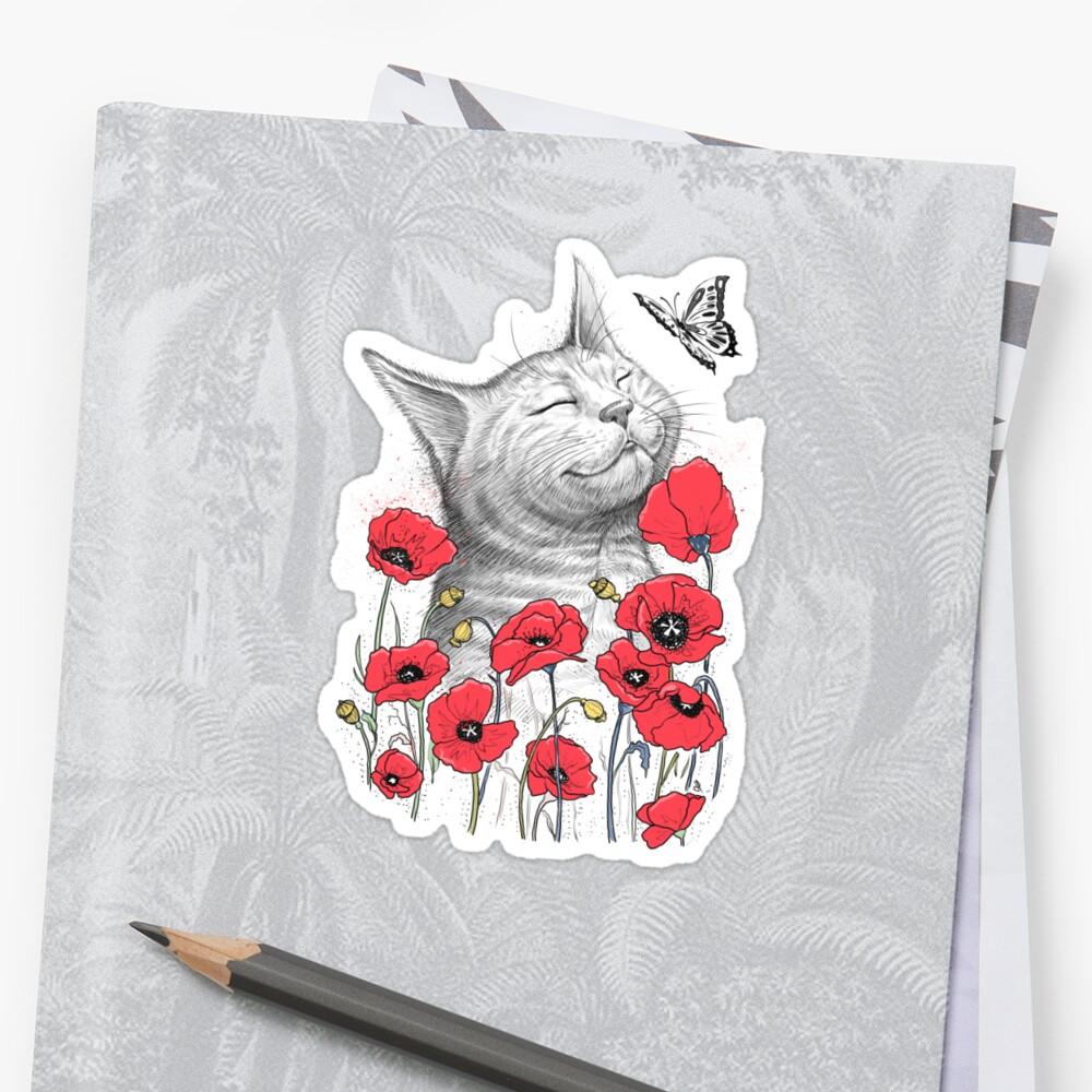 Cat in poppies Sticker