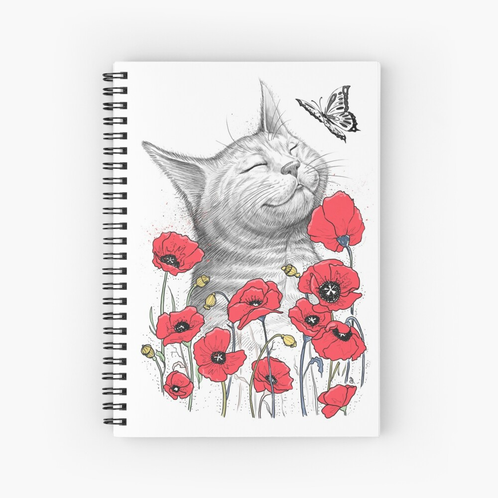 Cat in poppies Spiralblock