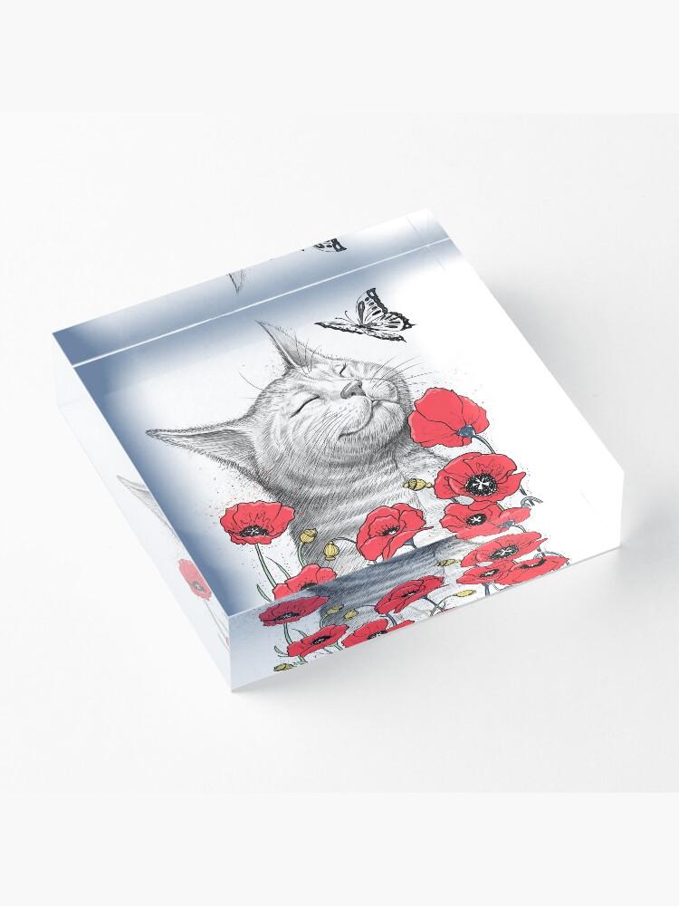 Alternative Ansicht von Cat in poppies Acrylblock